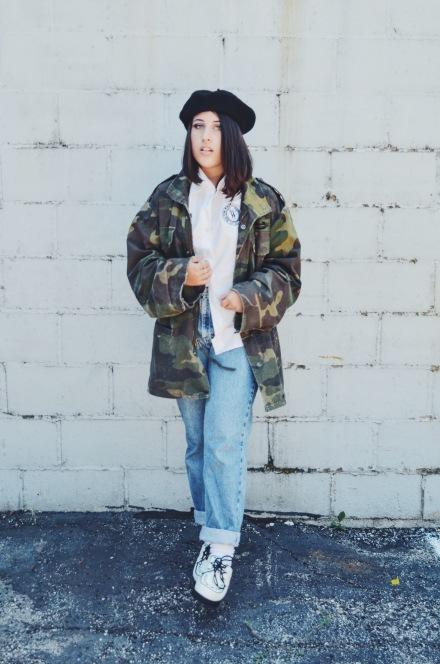 denim army jacket creepers punk grunge beret